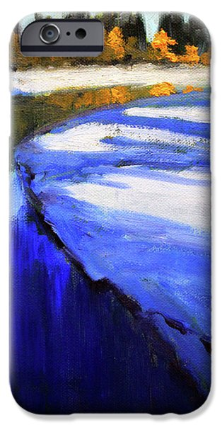 IPhone 6 Case featuring the painting Winter River by Nancy Merkle