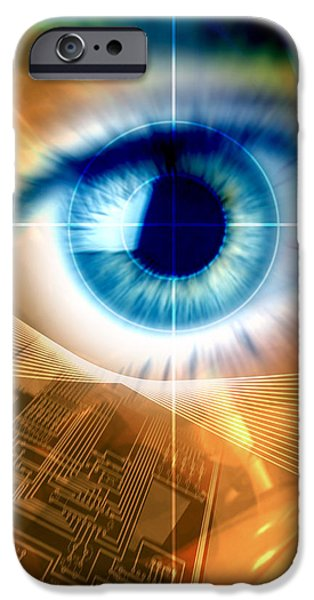 Circuit iPhone Cases - Biometric Eye Scan iPhone Case by Pasieka