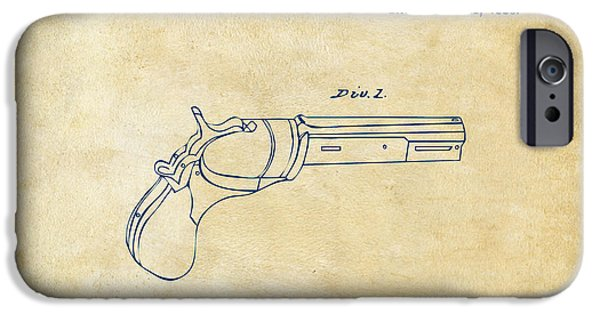 Lines Drawings iPhone Cases - 1836 First Colt Revolver Patent Artwork - Vintage iPhone Case by Nikki Marie Smith