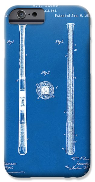Baseball Drawings iPhone Cases - 1885 Baseball Bat Patent Artwork - Blueprint iPhone Case by Nikki Marie Smith