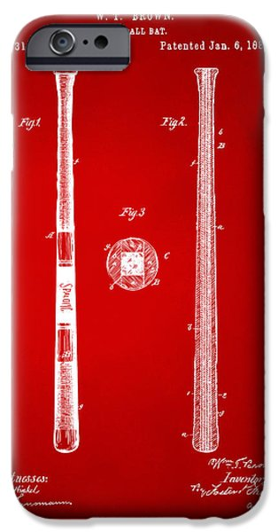 Baseball Drawings iPhone Cases - 1885 Baseball Bat Patent Artwork - Red iPhone Case by Nikki Marie Smith