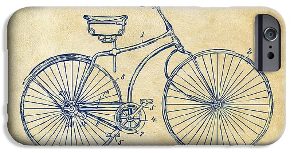 Lines Drawings iPhone Cases - 1890 Bicycle Patent Minimal - Vintage iPhone Case by Nikki Marie Smith