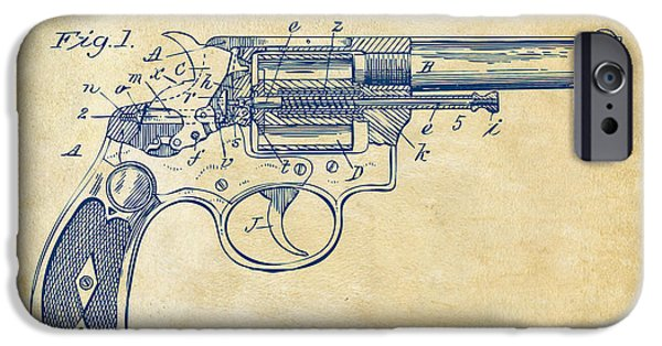 Weapon Drawings iPhone Cases - 1896 Wesson Safety Device Revolver Patent Minimal - Vintage iPhone Case by Nikki Marie Smith