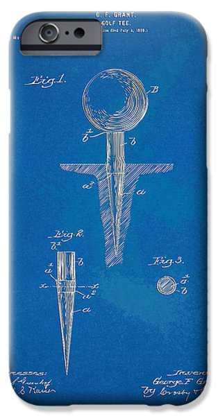 Unique Drawings iPhone Cases - 1899 Golf Tee Patent Artwork - Blueprint iPhone Case by Nikki Marie Smith