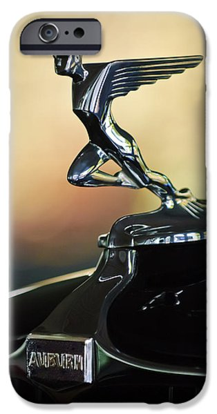 Auburn iPhone Cases - 1932 Auburn 12-160 Speedster Hood Ornament iPhone Case by Jill Reger
