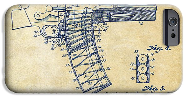 Lines Drawings iPhone Cases - 1937 Police Remington Model 8 Magazine Patent Minimal - Vintage iPhone Case by Nikki Marie Smith