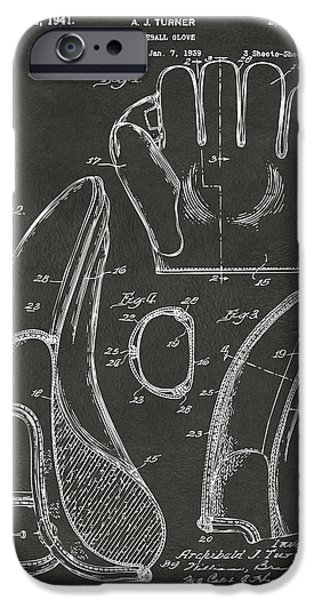 Baseball Pitcher iPhone Cases - 1941 Baseball Glove Patent - Gray iPhone Case by Nikki Marie Smith