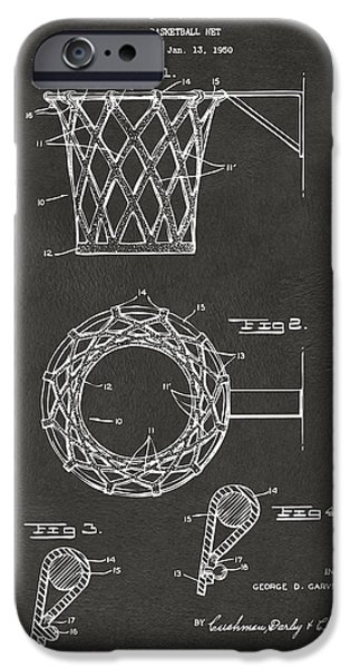 Basket iPhone Cases - 1951 Basketball Net Patent Artwork - Gray iPhone Case by Nikki Marie Smith