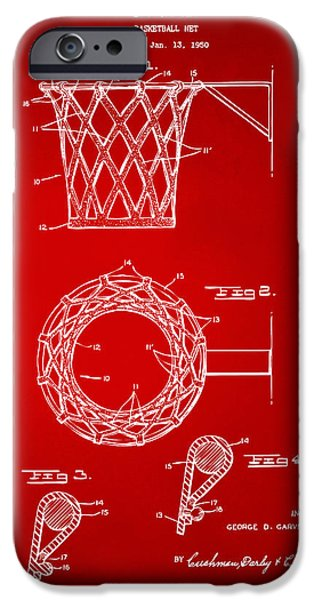 Basket Ball iPhone Cases - 1951 Basketball Net Patent Artwork - Red iPhone Case by Nikki Marie Smith
