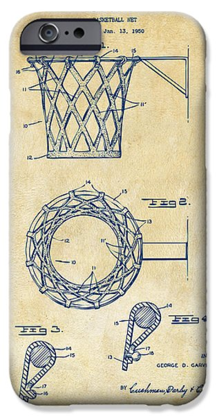 Basket Ball Game iPhone Cases - 1951 Basketball Net Patent Artwork - Vintage iPhone Case by Nikki Marie Smith