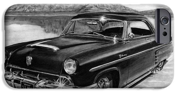 Salt Flats Drawings iPhone Cases - 1953 Mercury Monterey on Bonneville iPhone Case by Peter Piatt