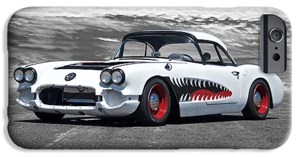 Circuit iPhone Cases - 1958 Corvette Sharky Retro Rod in Process iPhone Case by Dave Koontz
