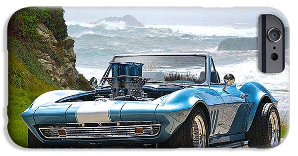 Circuit iPhone Cases - 1965 Corvette Stingray Convertible iPhone Case by Dave Koontz