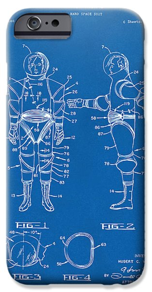 Science Fiction Drawings iPhone Cases - 1968 Hard Space Suit Patent Artwork - Blueprint iPhone Case by Nikki Marie Smith