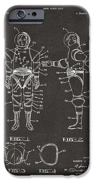 Science Fiction Drawings iPhone Cases - 1968 Hard Space Suit Patent Artwork - Gray iPhone Case by Nikki Marie Smith