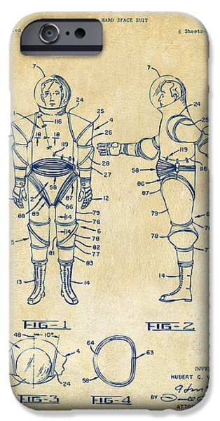 Science Fiction Drawings iPhone Cases - 1968 Hard Space Suit Patent Artwork - Vintage iPhone Case by Nikki Marie Smith