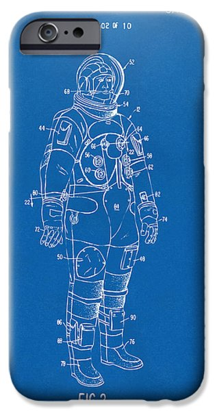 Science Fiction Drawings iPhone Cases - 1973 Astronaut Space Suit Patent Artwork - Blueprint iPhone Case by Nikki Marie Smith