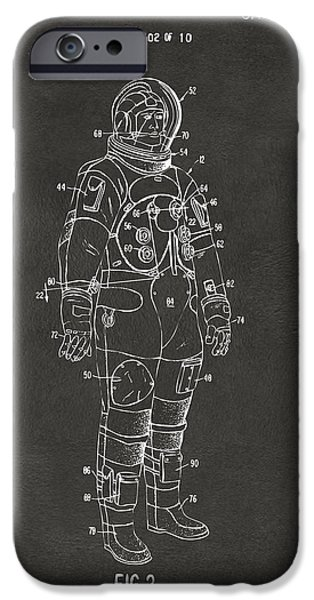 Science Fiction Drawings iPhone Cases - 1973 Astronaut Space Suit Patent Artwork - Gray iPhone Case by Nikki Marie Smith