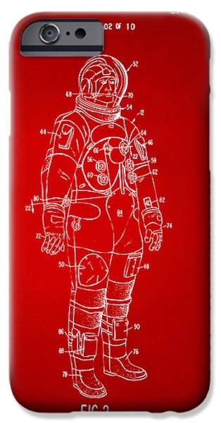 Science Fiction Drawings iPhone Cases - 1973 Astronaut Space Suit Patent Artwork - Red iPhone Case by Nikki Marie Smith