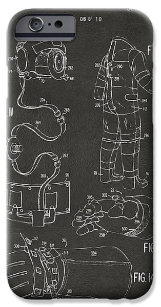Science Fiction Drawings iPhone Cases - 1973 Space Suit Elements Patent Artwork - Gray iPhone Case by Nikki Marie Smith