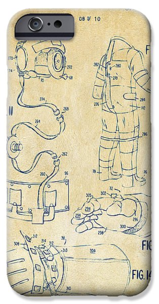 Science Fiction Drawings iPhone Cases - 1973 Space Suit Elements Patent Artwork - Vintage iPhone Case by Nikki Marie Smith