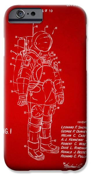 Science Fiction Drawings iPhone Cases - 1973 Space Suit Patent Inventors Artwork - Red iPhone Case by Nikki Marie Smith