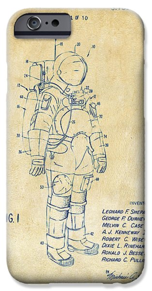 Science Fiction Drawings iPhone Cases - 1973 Space Suit Patent Inventors Artwork - Vintage iPhone Case by Nikki Marie Smith