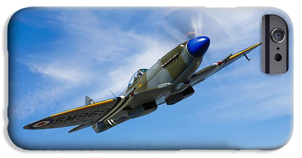 War iPhone Cases - A Supermarine Spitfire Mk-18 In Flight iPhone Case by Scott Germain