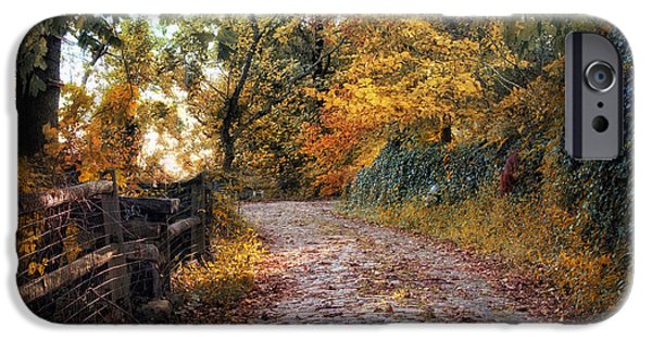 Autumn Road iPhone Cases - Around the Bend iPhone Case by Jessica Jenney