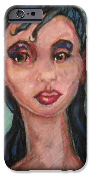 African-americans Pastels iPhone Cases - Brown Eyes iPhone Case by Derrick Hayes