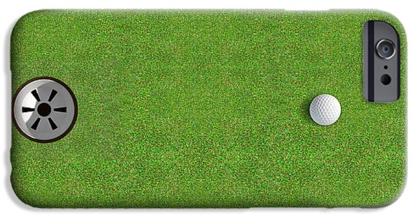 Golfing iPhone Cases - Golf Hole With Ball Approaching iPhone Case by Allan Swart