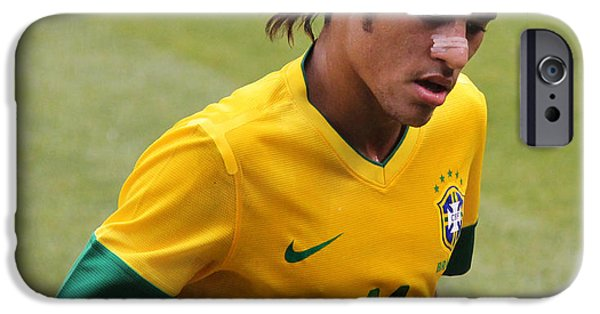 Celebrities Photographs iPhone Cases - Neymar Junior iPhone Case by Lee Dos Santos