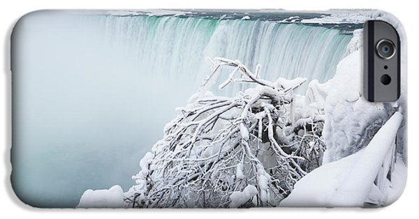 Wintertime iPhone Cases - Niagara Falls Wintertime Scenic iPhone Case by Oleksiy Maksymenko