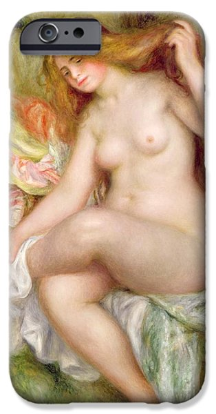 Renoir iPhone Cases - Seated Bather iPhone Case by Pierre Auguste Renoir