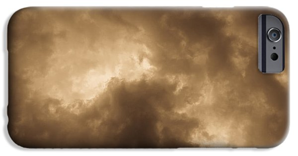 Summer Storm iPhone Cases - Sepia Clouds iPhone Case by David Pyatt