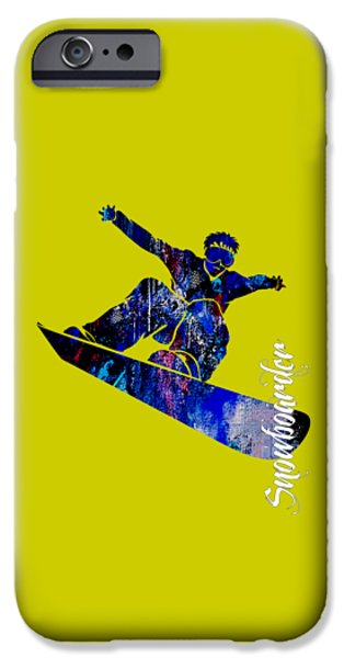 Alps iPhone Cases - Snowboarder Collection iPhone Case by Marvin Blaine
