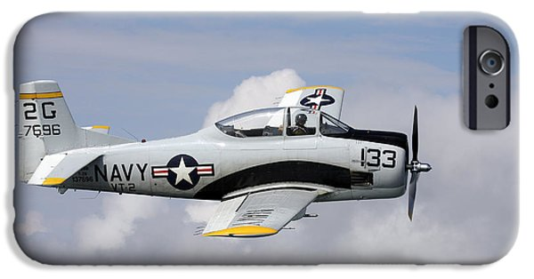 North American Aviation iPhone Cases - T-28 Trojan Trainer Warbird In U.s iPhone Case by Daniel Karlsson
