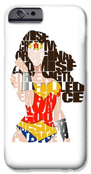 Wonder Woman Inspirational Power And Strength Through Words IPhone 6 Case by Marvin Blaine