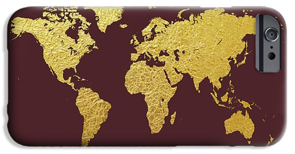 Gold leaf iphone 6 cases fine art america gold leaf iphone 6 case world map gold foil by michael tompsett gumiabroncs Choice Image