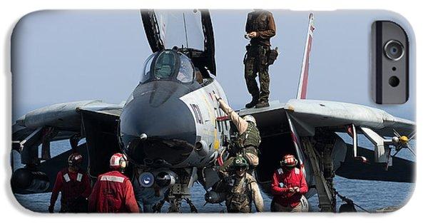 Cockpit Photographs iPhone Cases - An F-14d Tomcat On The Flight Deck iPhone Case by Gert Kromhout