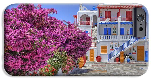 House iPhone Cases - Mykonos iPhone Case by Joana Kruse