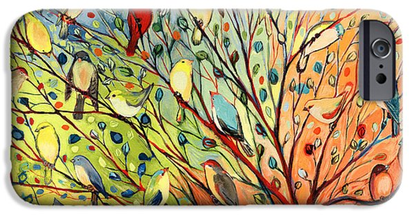Red iPhone 6 Case - 27 Birds by Jennifer Lommers