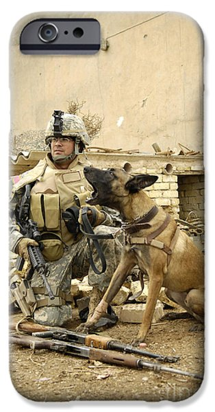 Bonding iPhone Cases - A Dog Handler And His Military Working iPhone Case by Stocktrek Images
