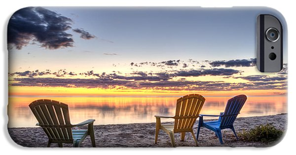 Smooth iPhone Cases - 3 Chairs Sunrise iPhone Case by Scott Norris