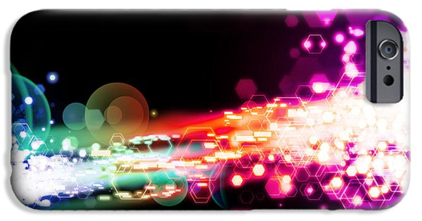Abstract Movement Digital iPhone Cases - Explosion Of Lights iPhone Case by Setsiri Silapasuwanchai