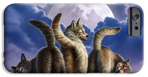 Canine Digital iPhone Cases - 3 Wolves Mooning iPhone Case by Jerry LoFaro