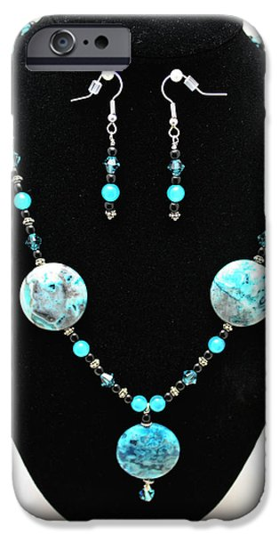 Transportation Jewelry iPhone Cases - 3508 Crazy Lace Agate Necklace and Earrings iPhone Case by Teresa Mucha