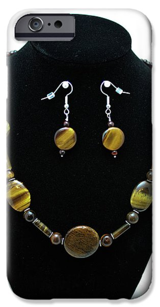 Snake Jewelry iPhone Cases - 3510 Tiger Eye Set iPhone Case by Teresa Mucha