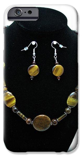 Eye Jewelry iPhone Cases - 3510 Tiger Eye Set iPhone Case by Teresa Mucha