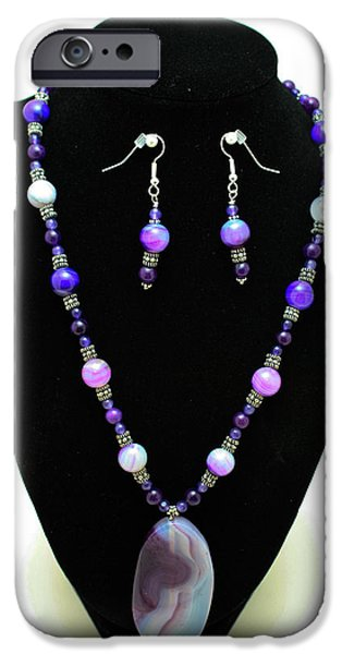 Little Jewelry iPhone Cases - 3547 Purple Veined Agate Set iPhone Case by Teresa Mucha